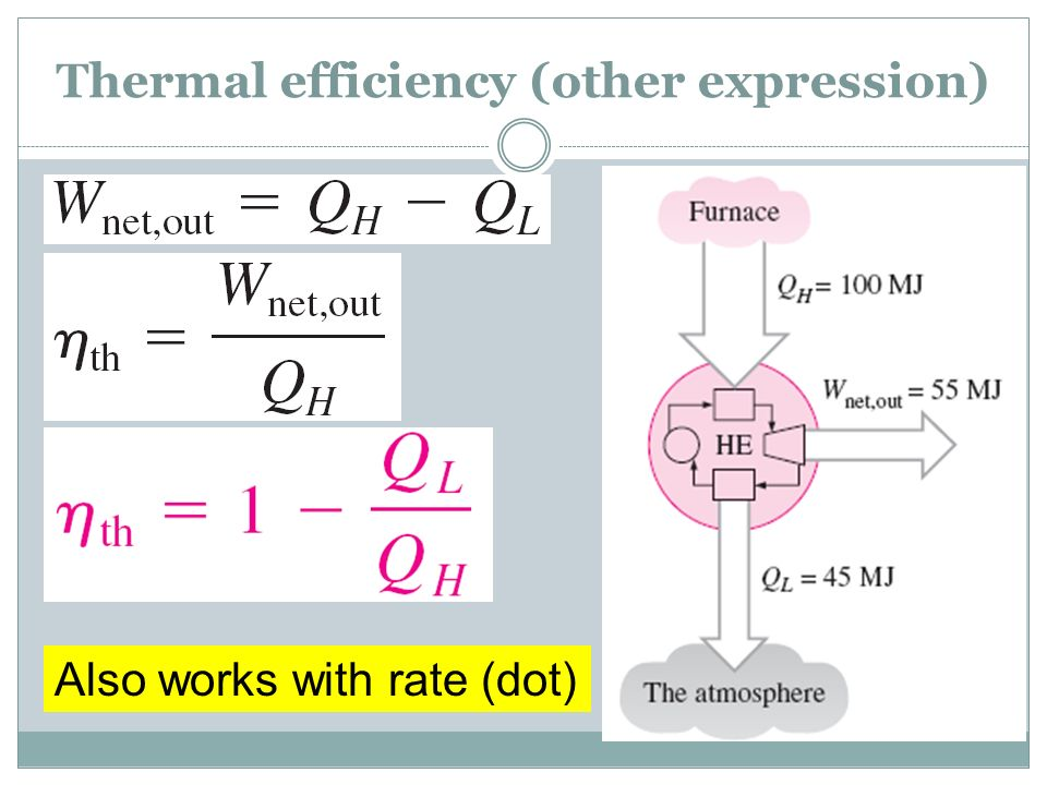 Thermal efficiency (other expression)