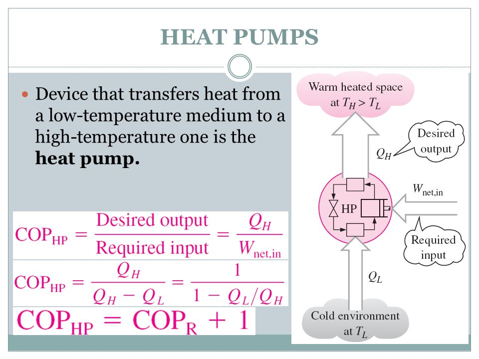 HEAT PUMPS Device that transfers heat from a low-temperature medium to a high-temperature one is the heat pump.