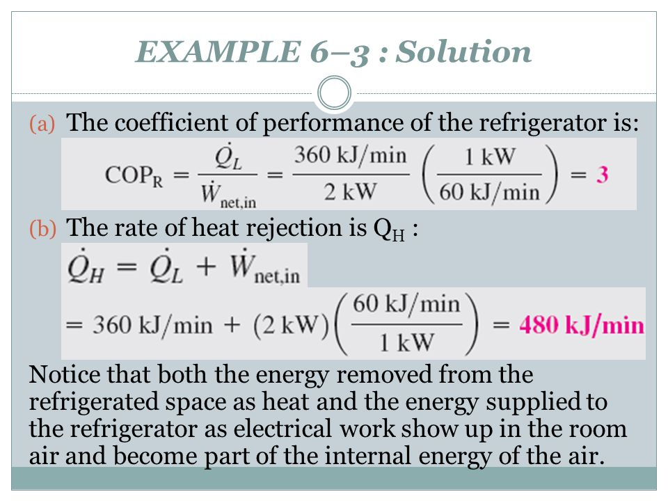 EXAMPLE 6–3 : Solution The coefficient of performance of the refrigerator is: The rate of heat rejection is QH :