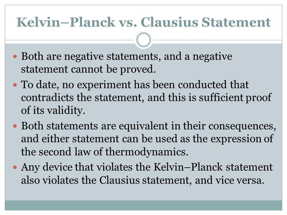 Kelvin–Planck vs. Clausius Statement