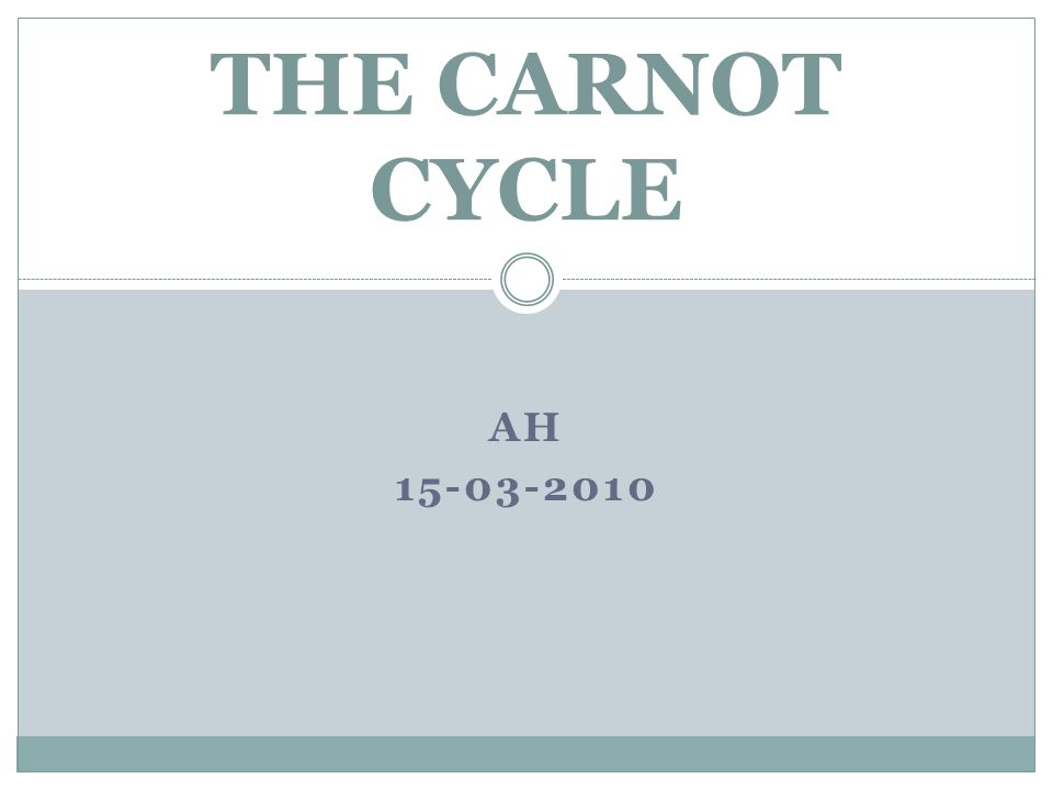 THE CARNOT CYCLE Ah 15-03-2010