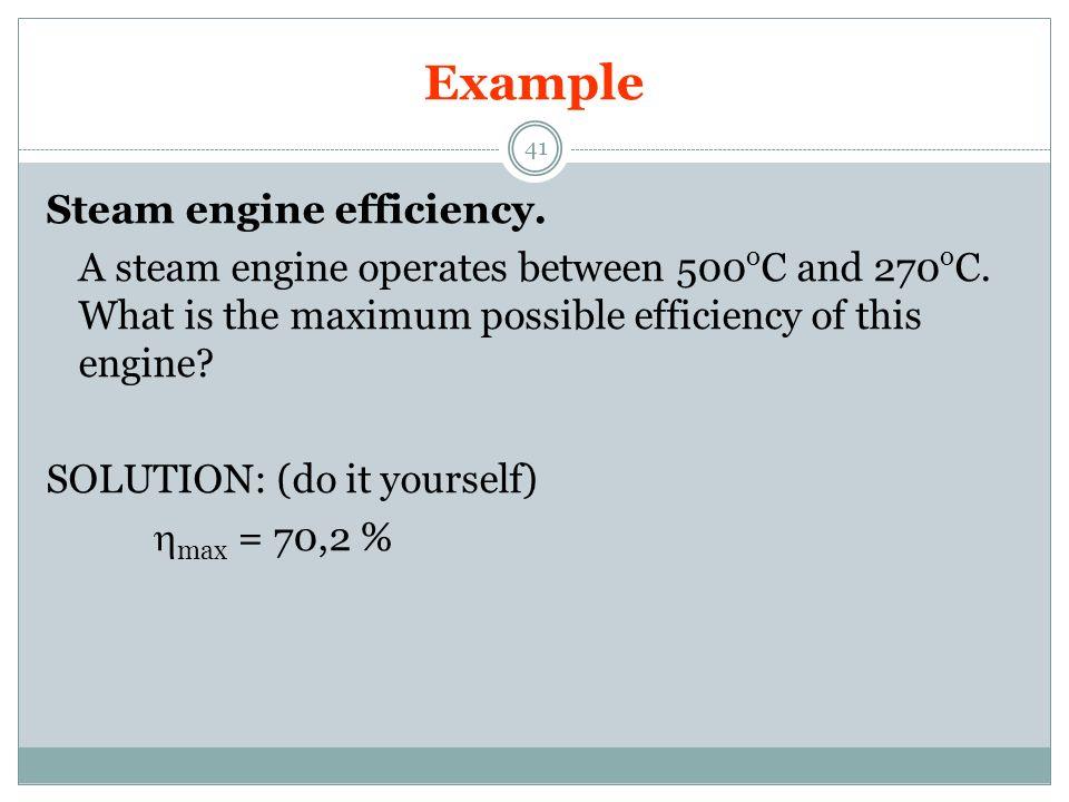 Example Steam engine efficiency.