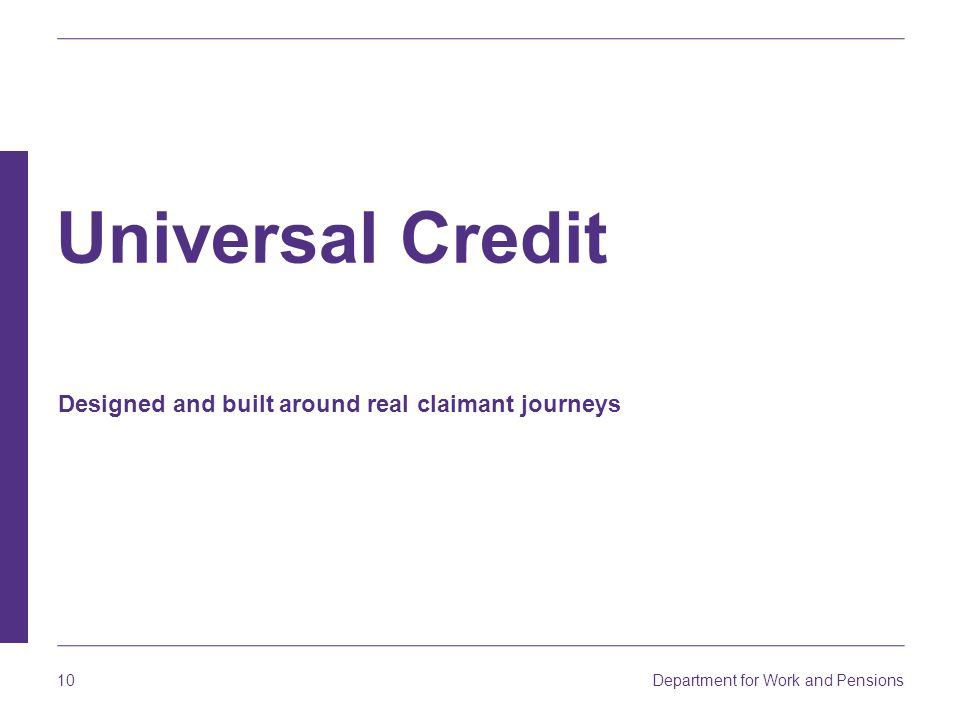 Universal Credit Designed and built around real claimant journeys