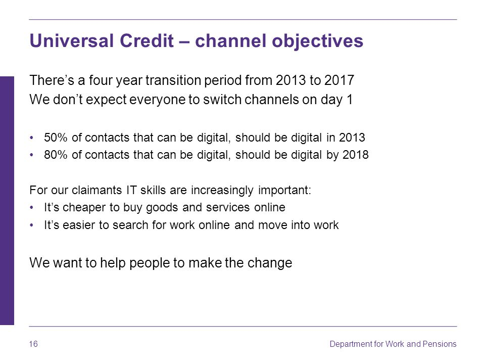 Universal Credit – channel objectives