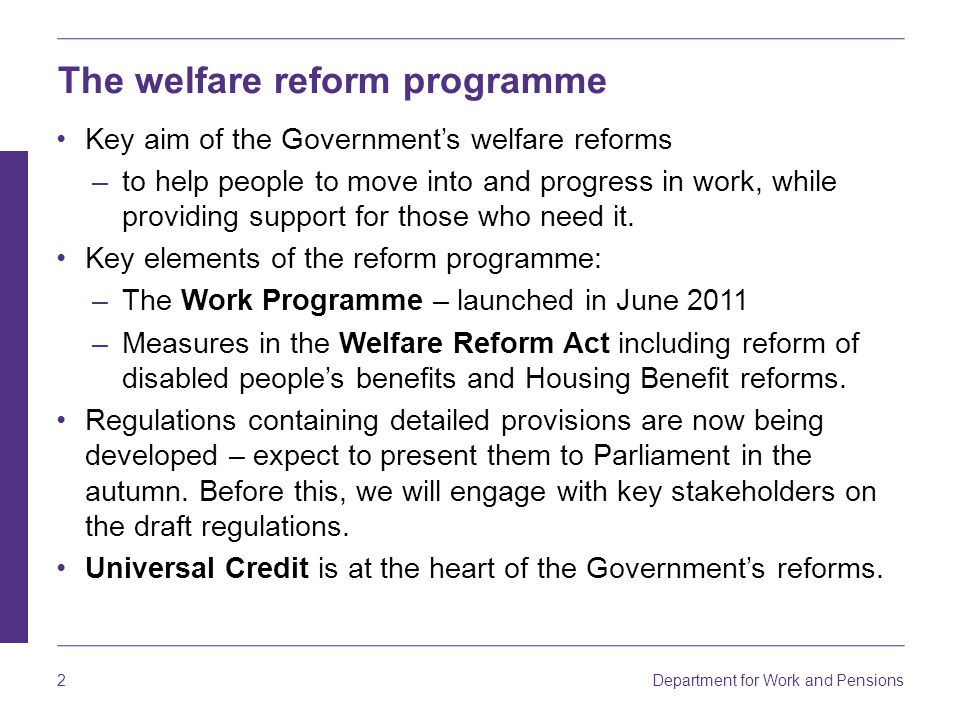 The welfare reform programme