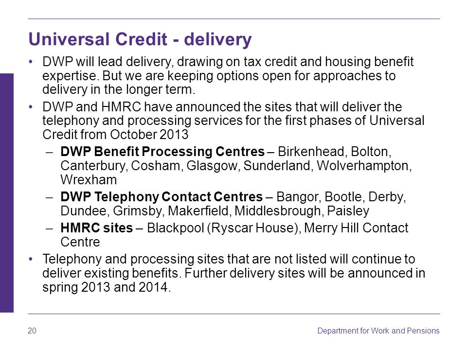 Universal Credit - delivery