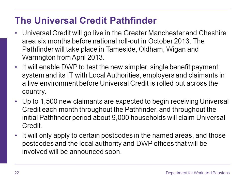 The Universal Credit Pathfinder