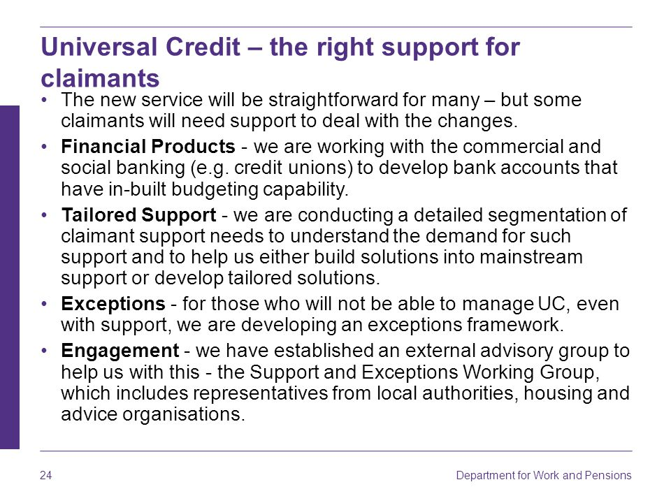 Universal Credit – the right support for claimants