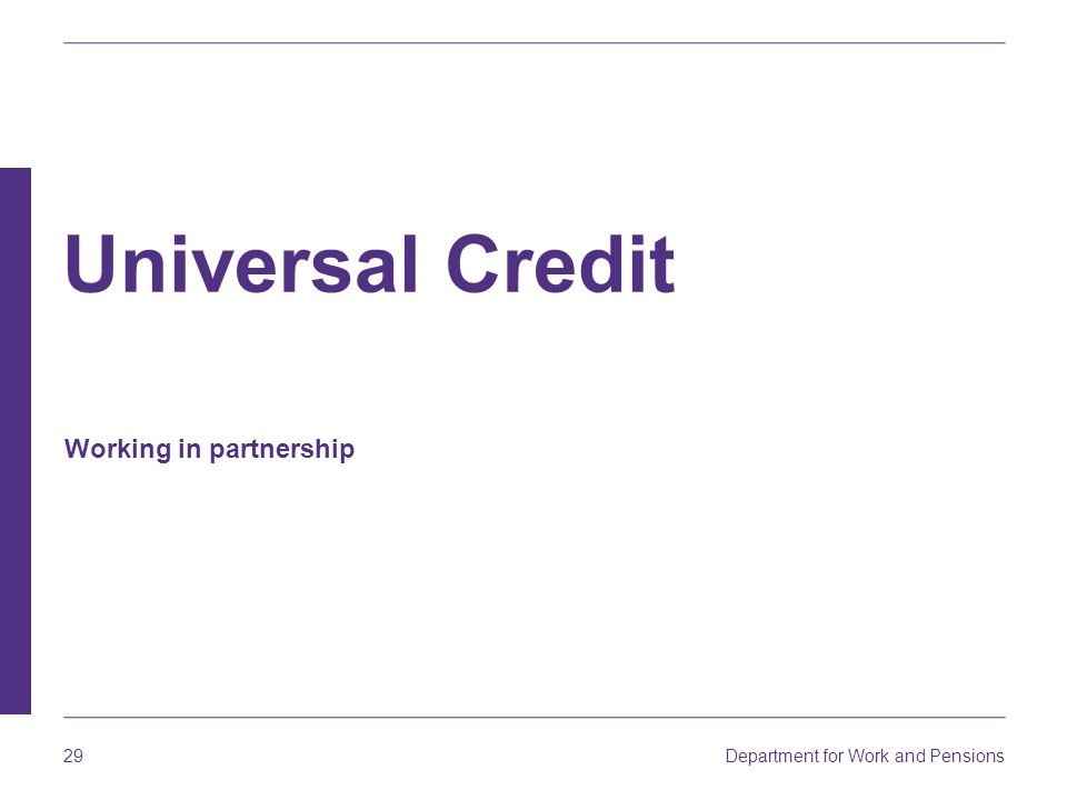 Universal Credit Working in partnership