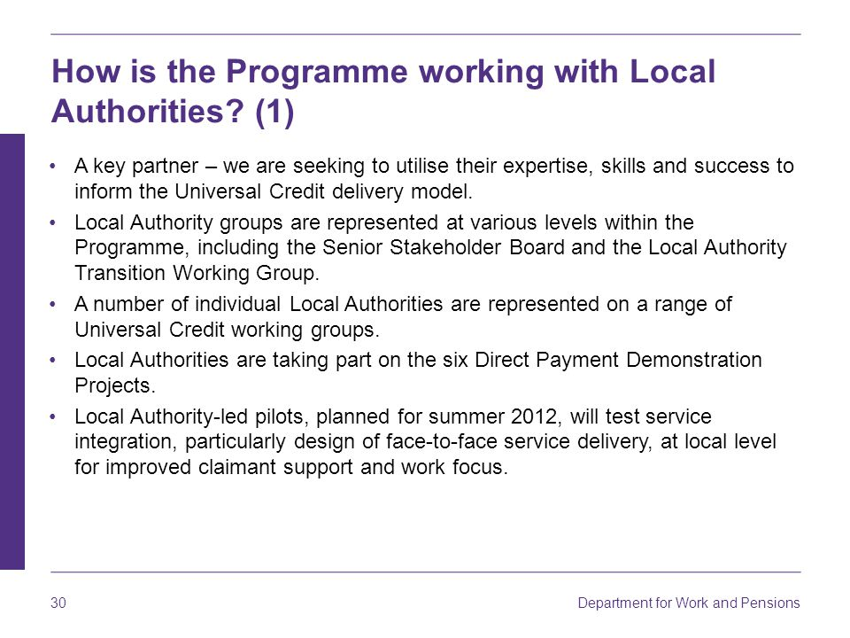 How is the Programme working with Local Authorities (1)