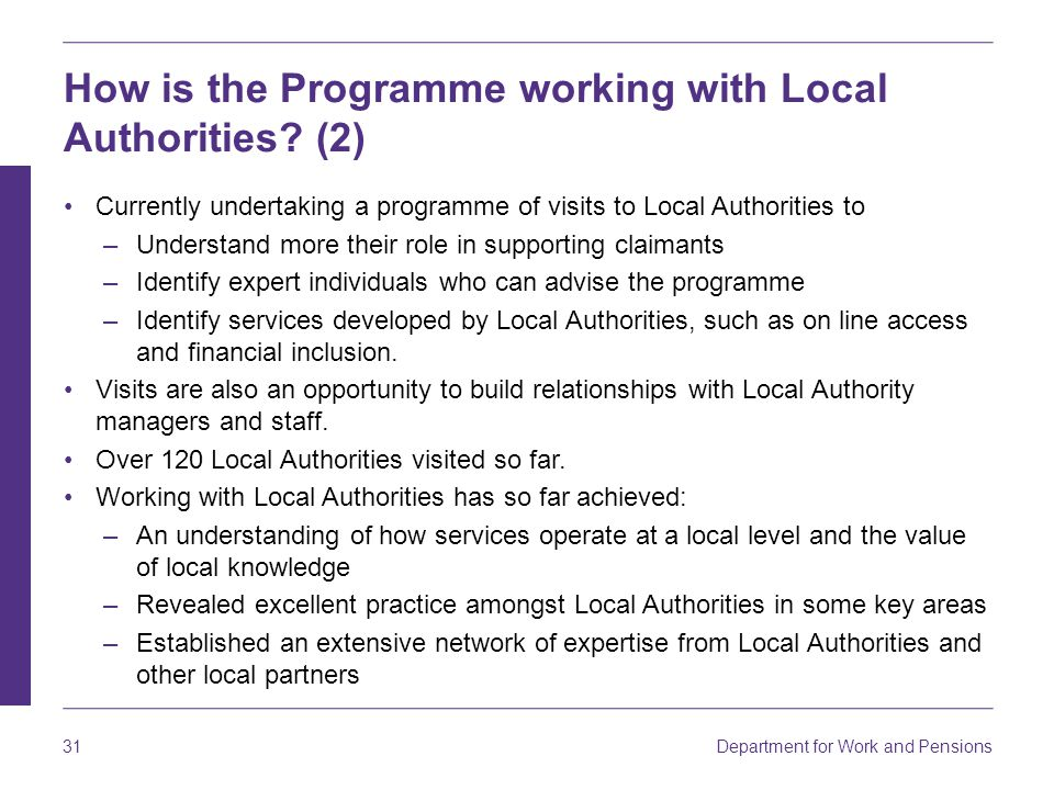 How is the Programme working with Local Authorities (2)