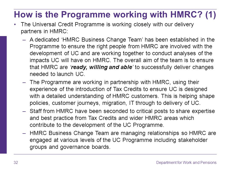 How is the Programme working with HMRC (1)