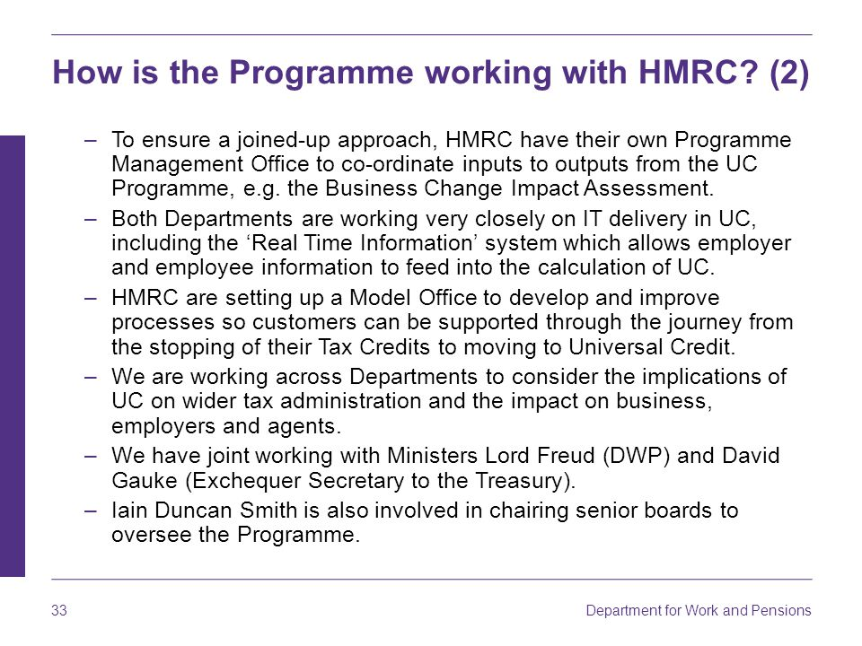 How is the Programme working with HMRC (2)