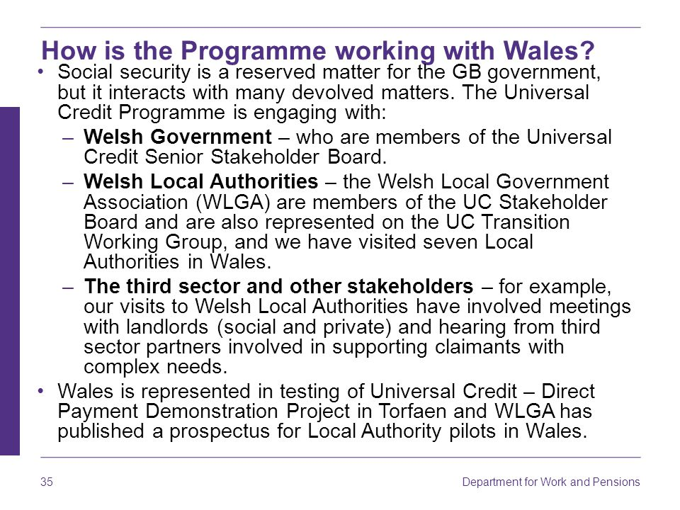 How is the Programme working with Wales
