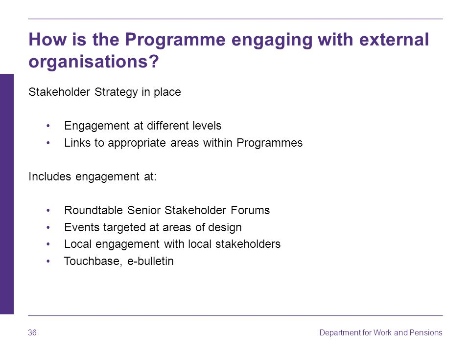 How is the Programme engaging with external organisations