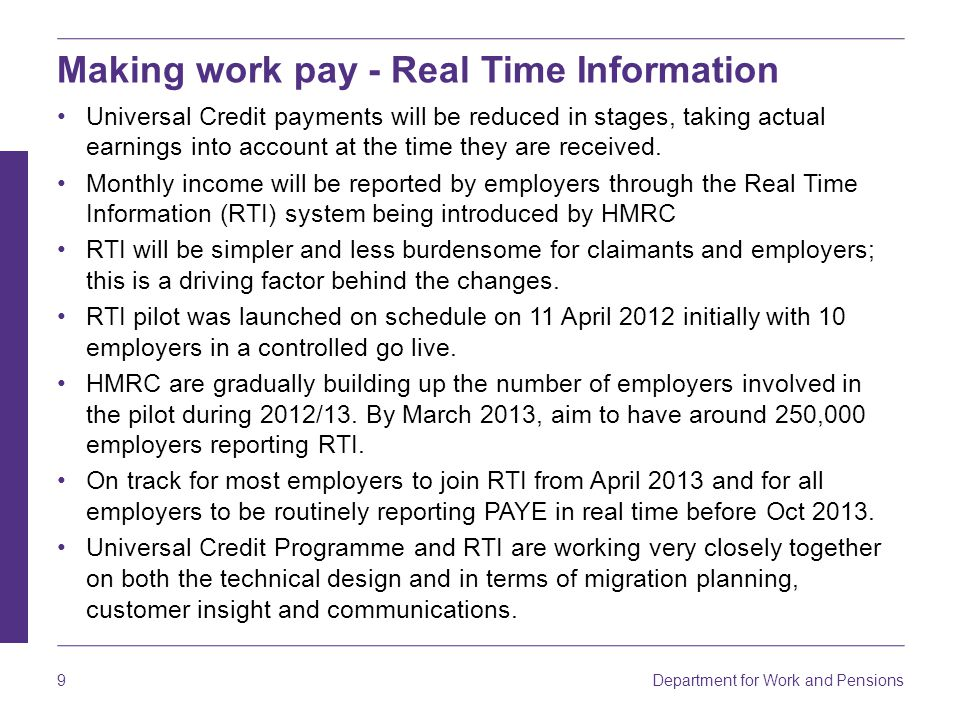Making work pay - Real Time Information