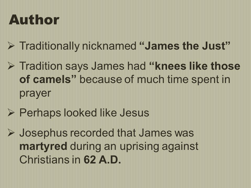 Author Traditionally nicknamed James the Just
