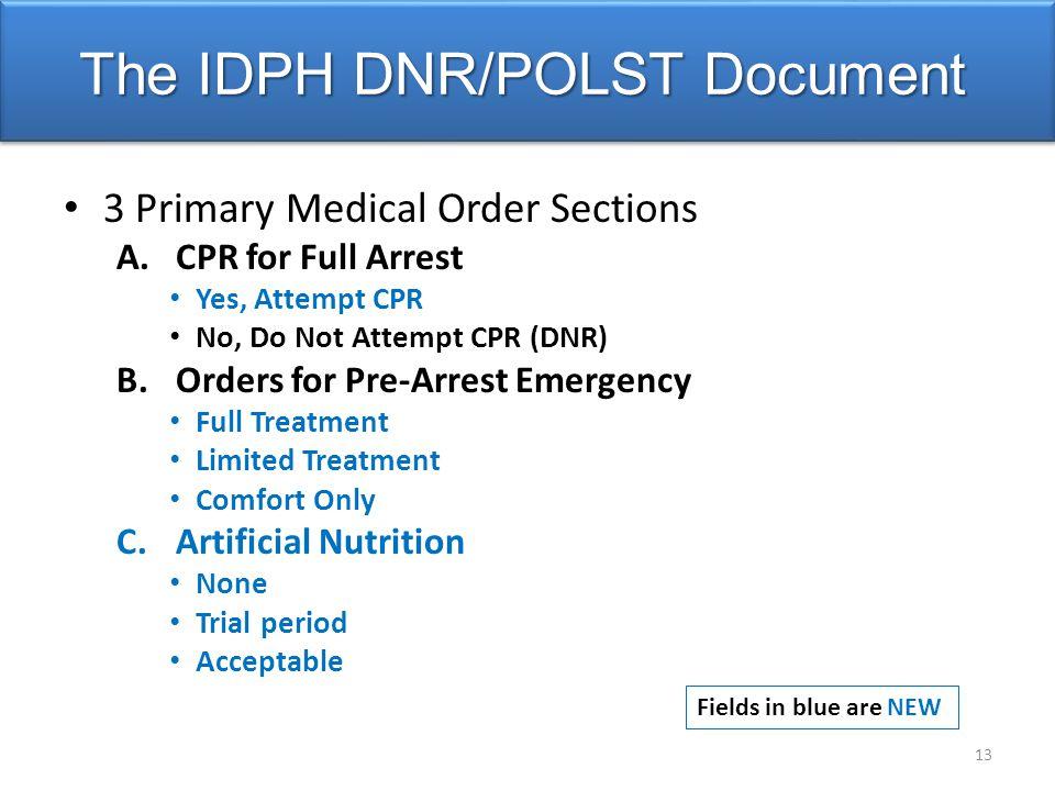 The IDPH DNR/POLST Document