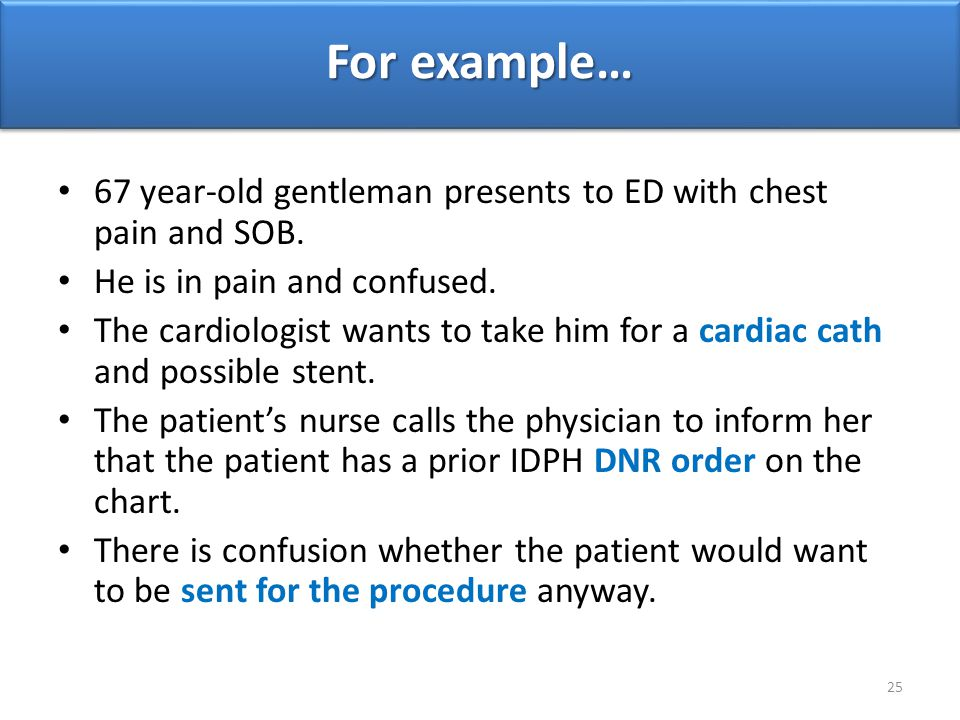For example… 67 year-old gentleman presents to ED with chest pain and SOB. He is in pain and confused.