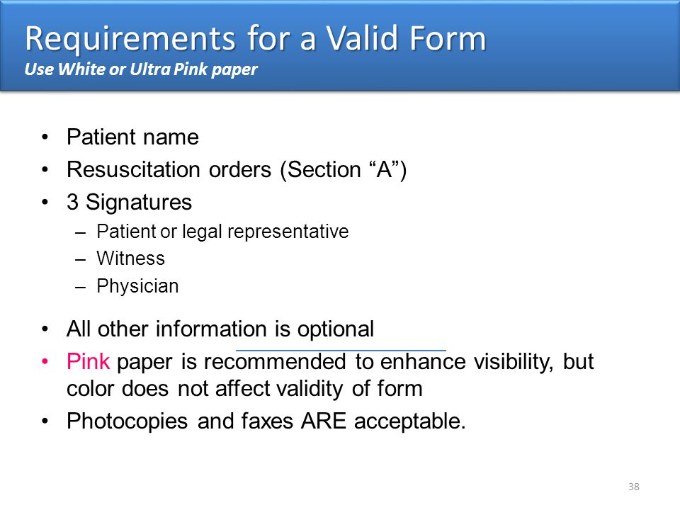 Requirements for a Valid Form