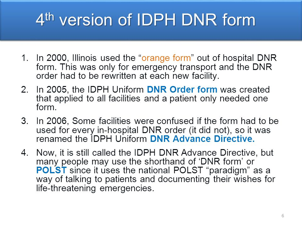 4th version of IDPH DNR form