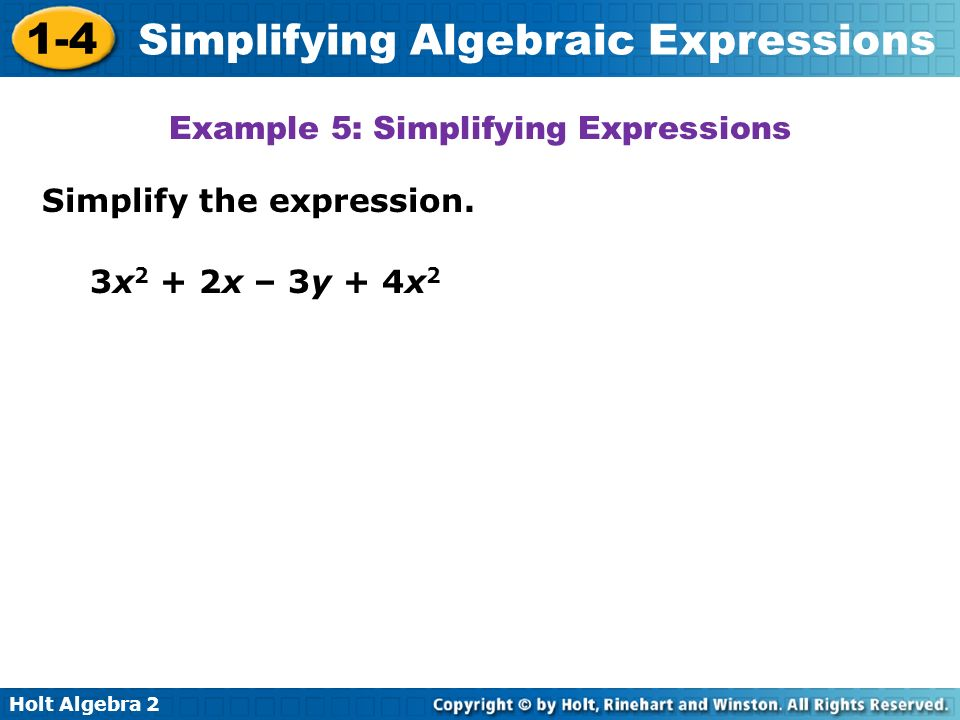 Example 5: Simplifying Expressions