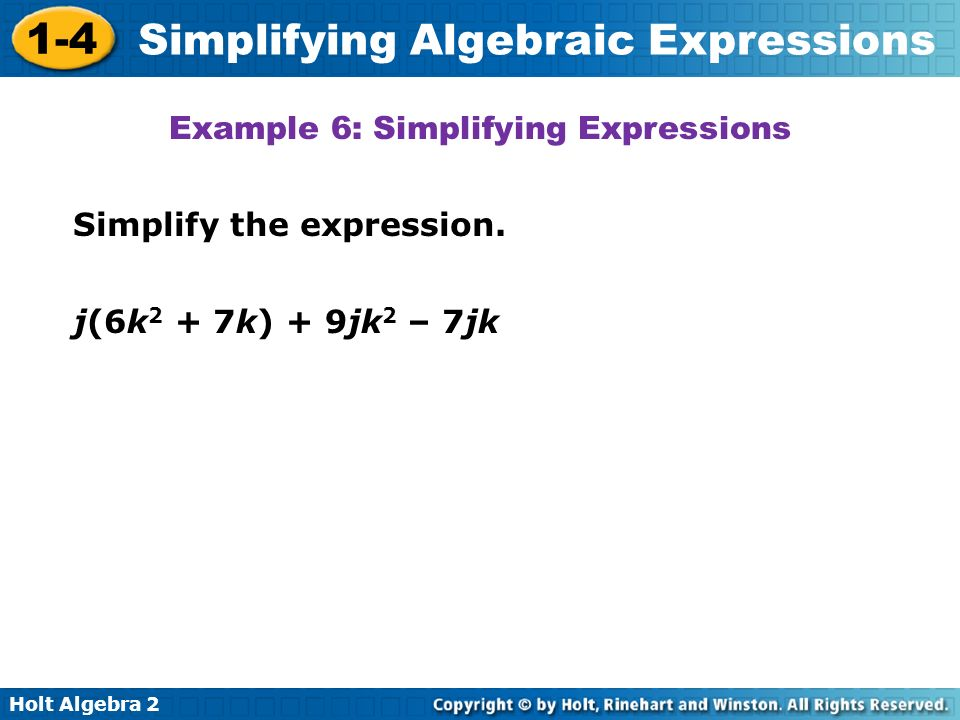 Example 6: Simplifying Expressions