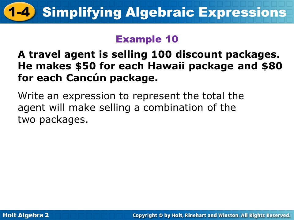 Example 10A travel agent is selling 100 discount packages. He makes $50 for each Hawaii package and $80 for each Cancún package.