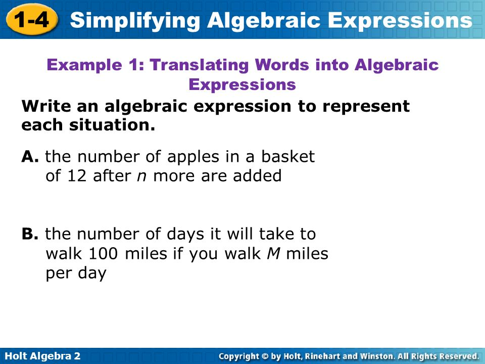 Example 1: Translating Words into Algebraic Expressions