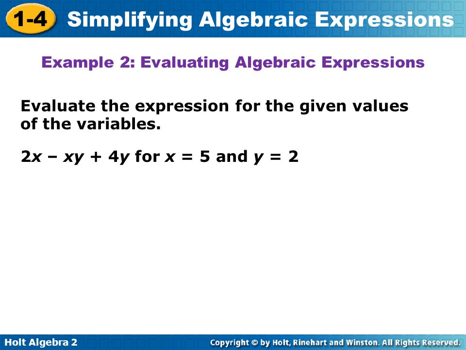 Example 2: Evaluating Algebraic Expressions