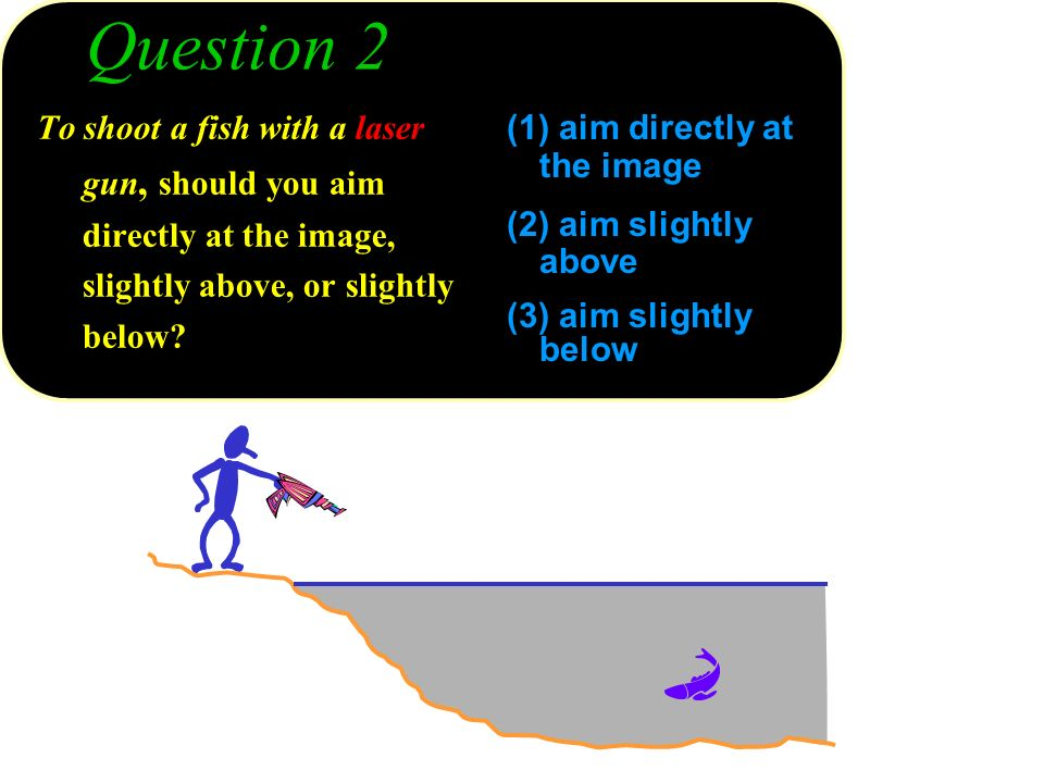 Question 2 To shoot a fish with a laser gun, should you aim directly at the image, slightly above, or slightly below