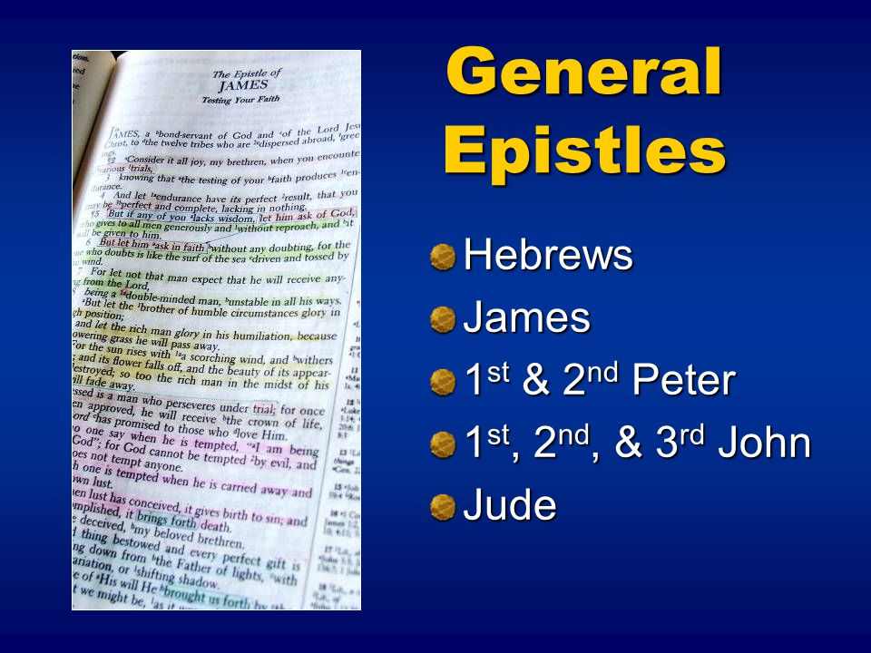 General Epistles Hebrews James 1st & 2nd Peter 1st, 2nd, & 3rd John