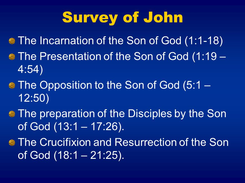 Survey of John The Incarnation of the Son of God (1:1-18)