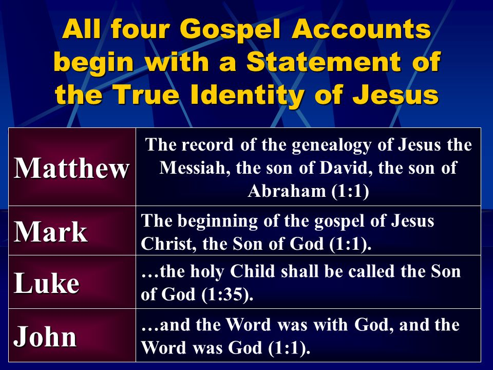 All four Gospel Accounts begin with a Statement of the True Identity of Jesus