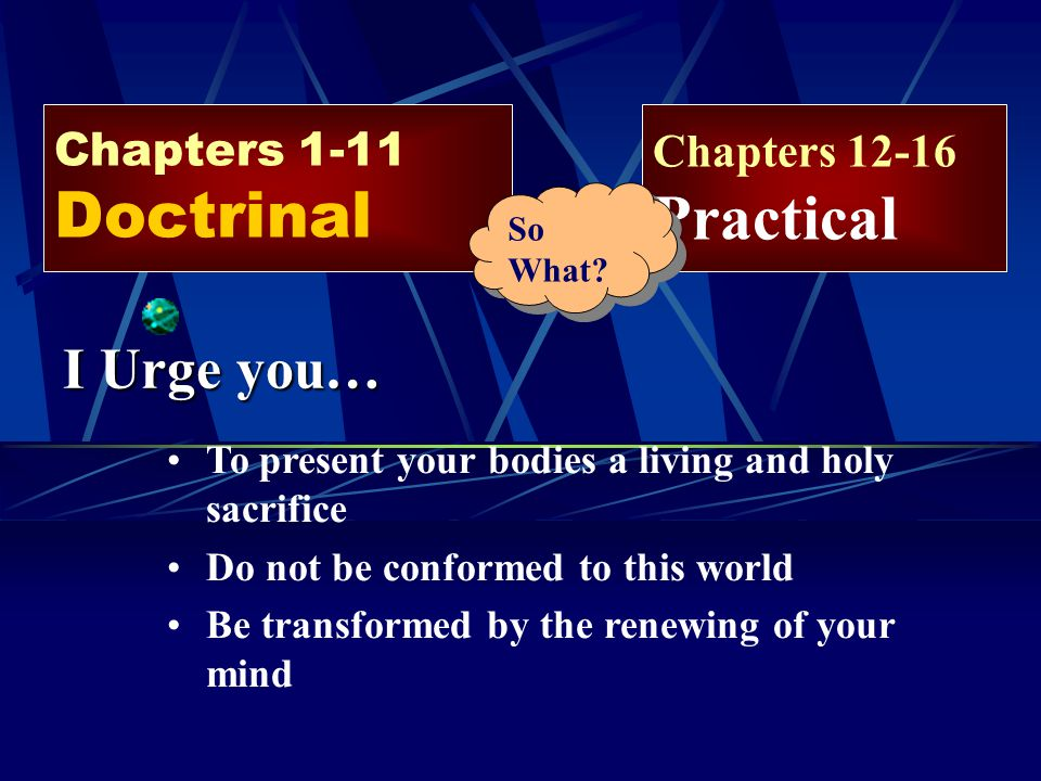 I Urge you… Chapters 1-11 Doctrinal Chapters 12-16 Practical