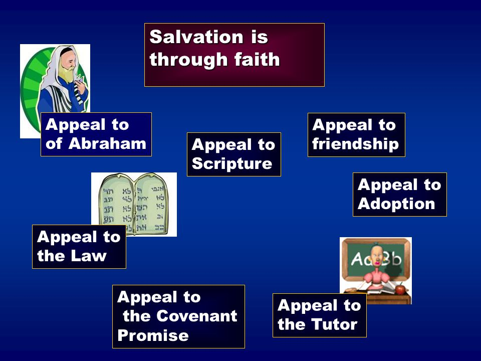 Salvation is through faith Appeal to of Abraham Appeal to friendship