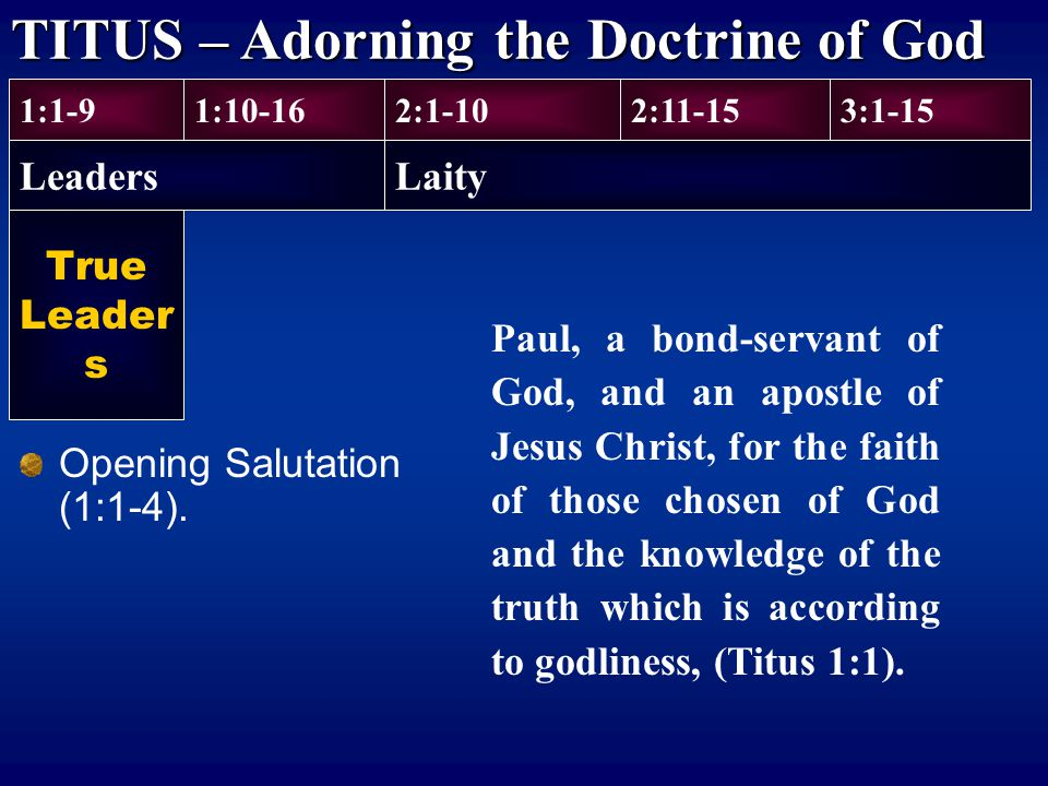 TITUS – Adorning the Doctrine of God