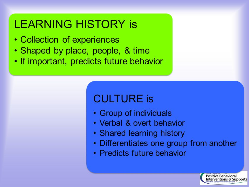 LEARNING HISTORY is CULTURE is Collection of experiences