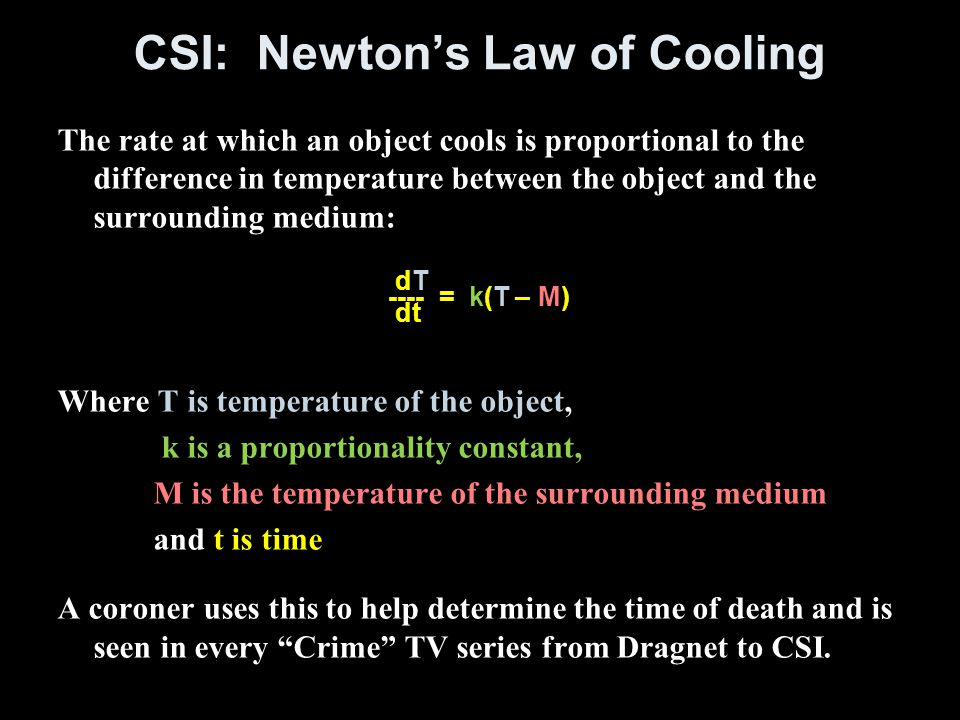 CSI: Newton's Law of Cooling