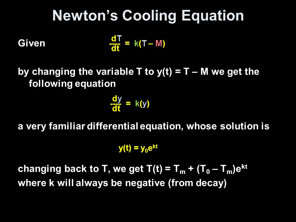 Newton's Cooling Equation