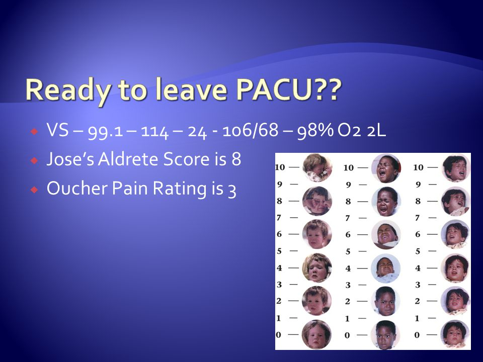 Ready to leave PACU VS – 99.1 – 114 – 24 - 106/68 – 98% O2 2L