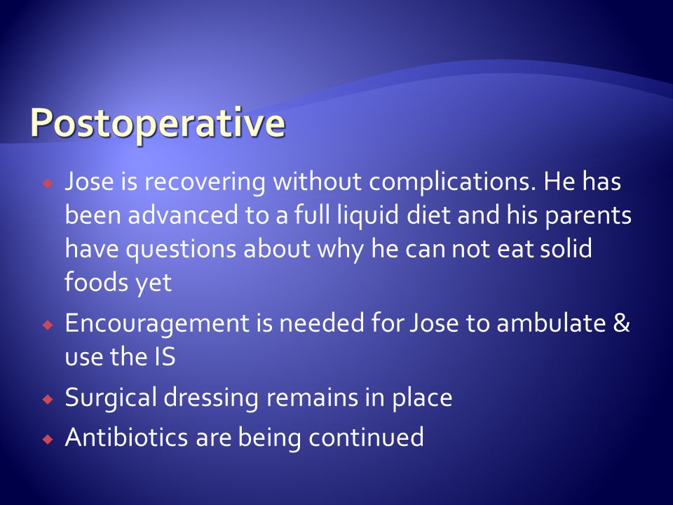 Jose is recovering without complications