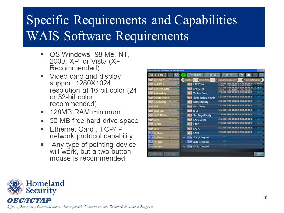Specific Requirements and Capabilities WAIS Software Requirements