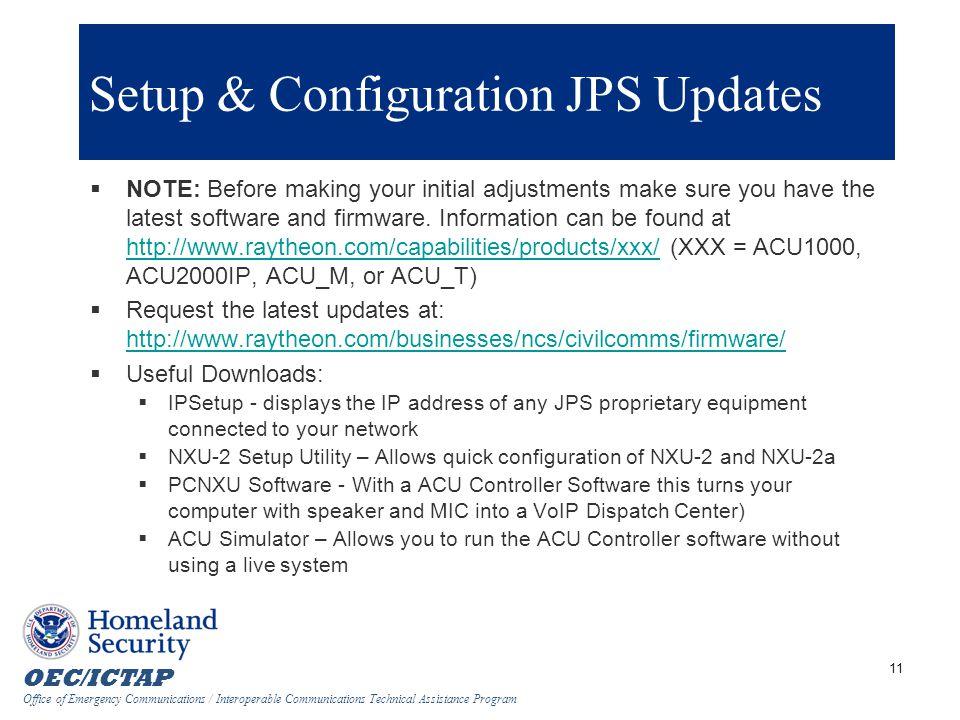 Setup & Configuration JPS Updates