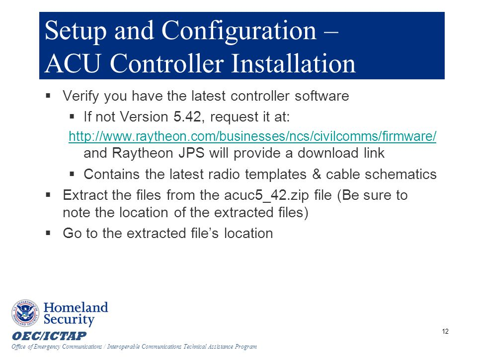 Setup and Configuration – ACU Controller Installation