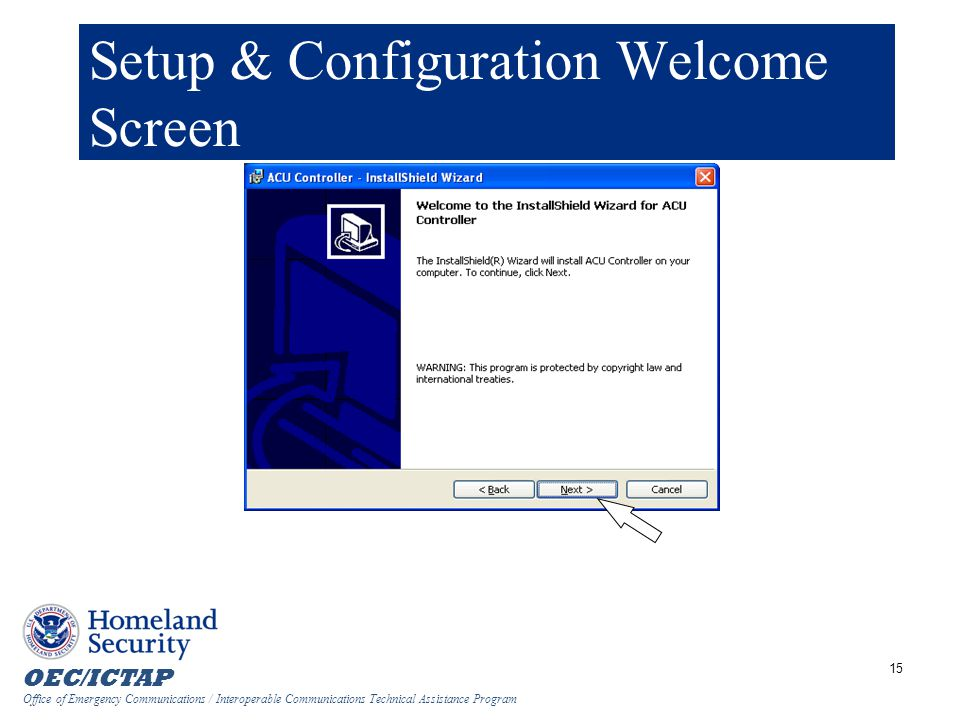 Setup & Configuration Welcome Screen