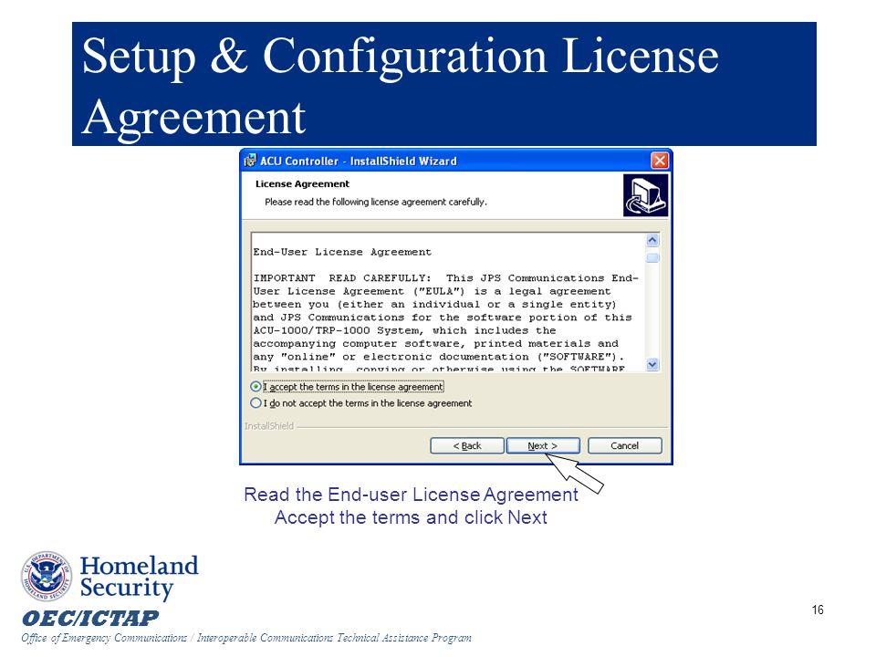 Setup & Configuration License Agreement
