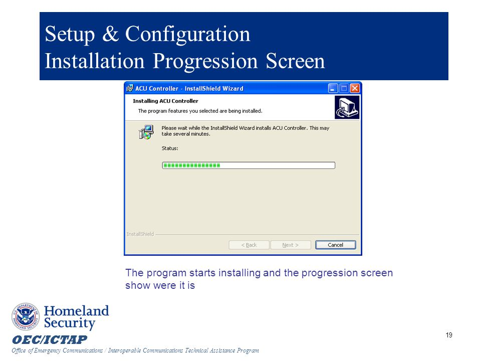 Setup & Configuration Installation Progression Screen