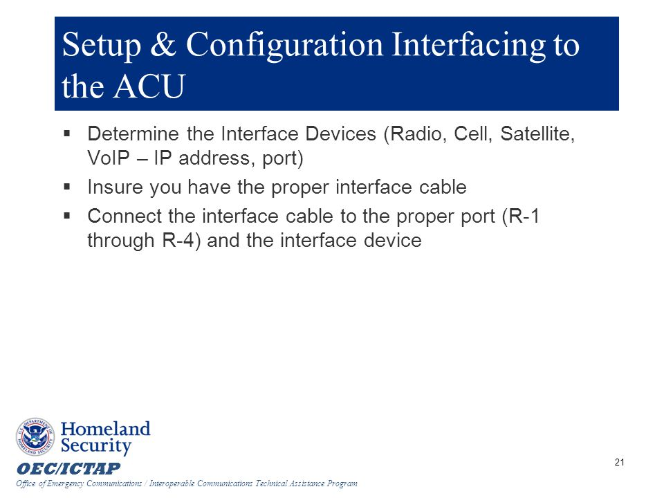 Setup & Configuration Interfacing to the ACU