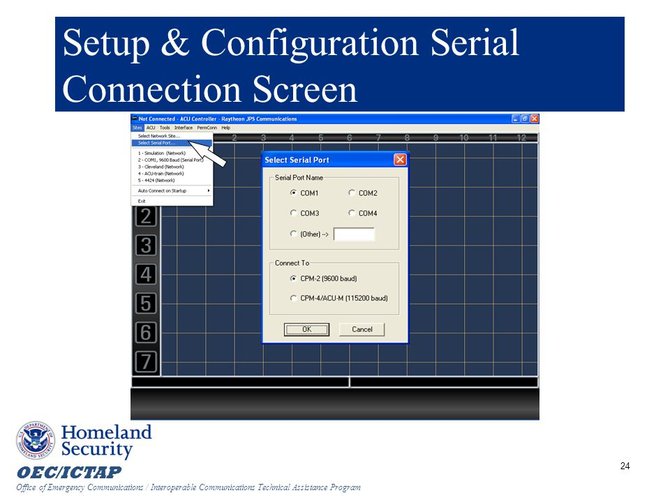 Setup & Configuration Serial Connection Screen